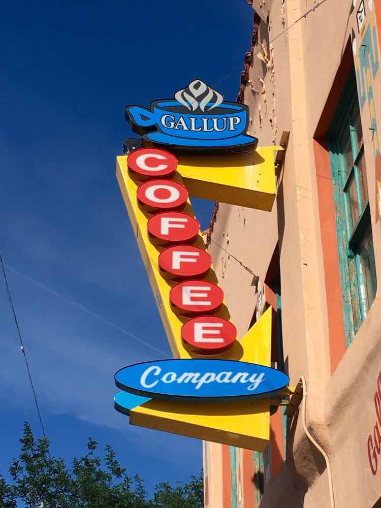 funky neon sign for Gallup Coffee Company