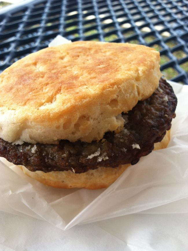 summer foods: sausage biscuit, Daylight Donuts, Cleveland, TN