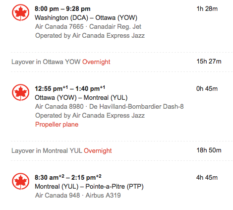 Air Canada to Guadeloupe