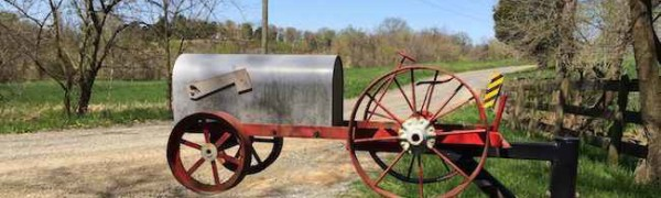 Tractor Mailbox, Loudoun County unpaved roads