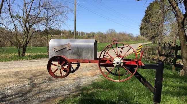 Tractor Mailbox, Loudoun County unpaved roads
