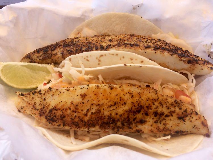 amazing fish tacos in US: Big Owls Tiki Bar in Grasonville, Maryland.
