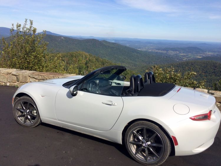 great travel experiences: Mazda MX-5 Miata Convertible along Skyline Drive
