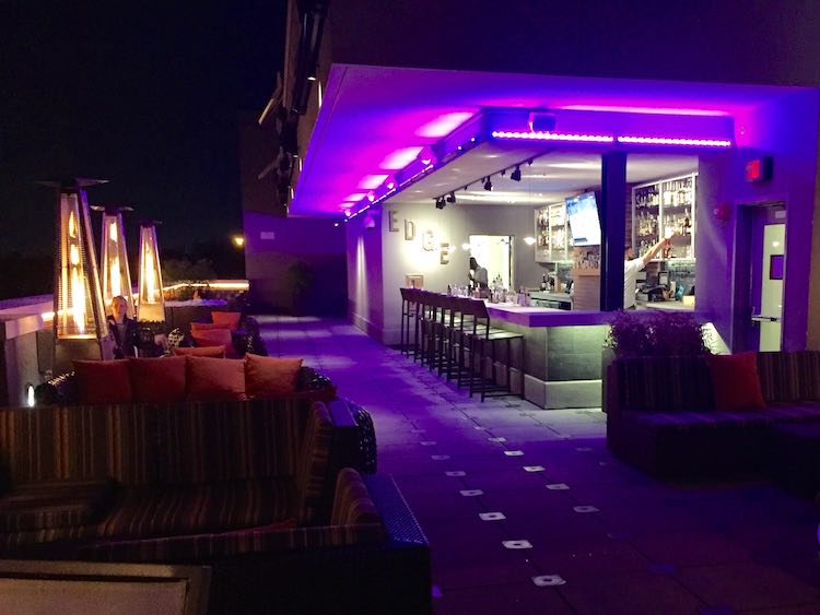 Relaxed Luxury Resorts in Florida: EDGE Rooftop Bar at Epicurean Hotel in Tampa Florida.