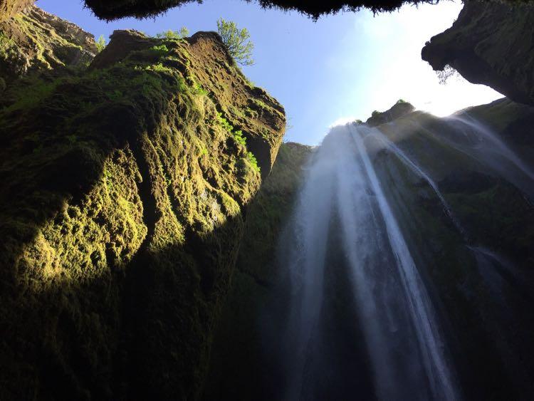 Seljalandsfoss waterfall cave Iceland