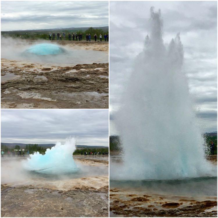 Strokkur geyser erupts Geysir Iceland