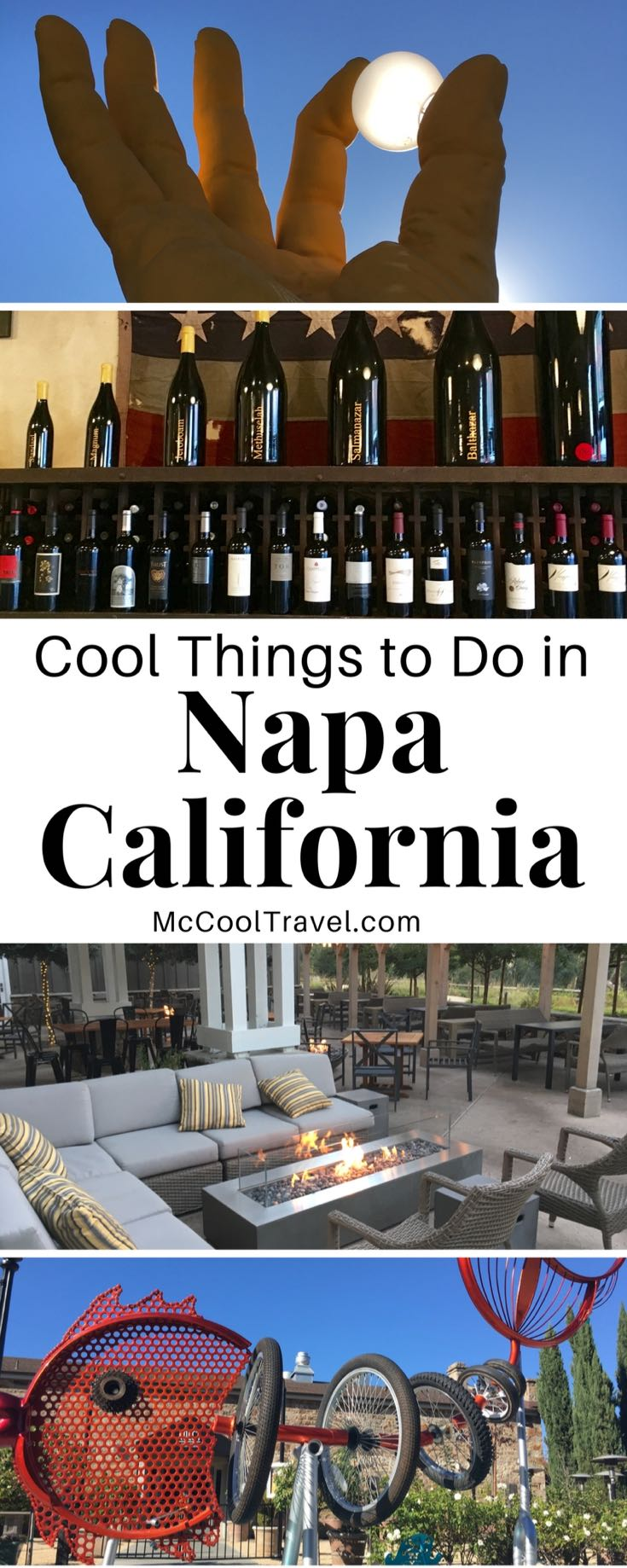 Napa California is known for its wine but the area is also home to amazing public art, incredible and eclectic dining options, fun outdoor activities. Cool things to do in Napa California. Where to eat in Napa. Places to stay in Napa.