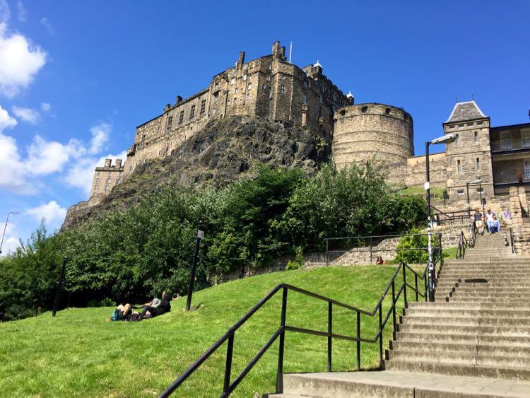 Grannys Green Steps and Edinburgh Castle Scotland